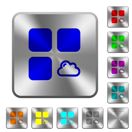 Cloud component engraved icons on rounded square glossy steel buttons