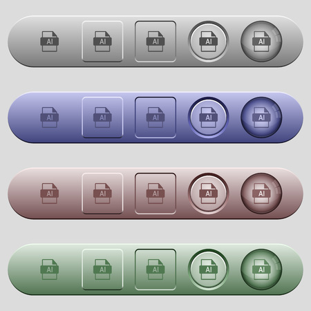 AI file format icons on rounded horizontal menu bars in different colors and button styles