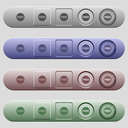 Free sticker icons on rounded horizontal menu bars in different colors and button styles Illustration