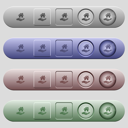 Home insurance icons on rounded horizontal menu bars in different colors and button styles
