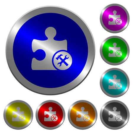 Plugin tools icons on round luminous coin-like color steel buttons