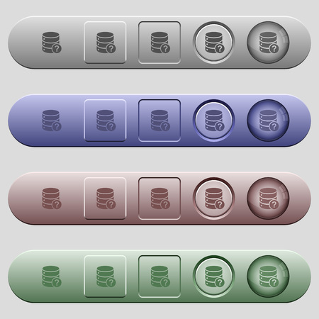 Database query icons on rounded horizontal menu bars in different colors and button styles