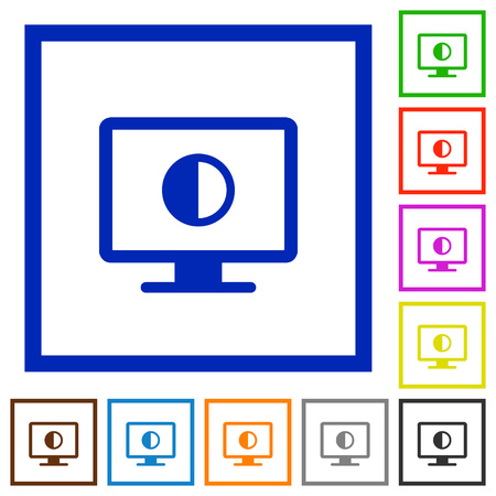 Adjust screen contrast flat color icons in square frames on white background