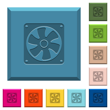 Computer fan engraved icons on edged square buttons in various trendy colors Ilustrace