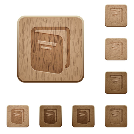 Album on rounded square carved wooden button styles Иллюстрация