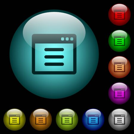 Application options icons in color illuminated spherical glass buttons on black background. Can be used to black or dark templates