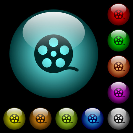 Movie roll icons in color illuminated spherical glass buttons on black background. Can be used to black or dark templates