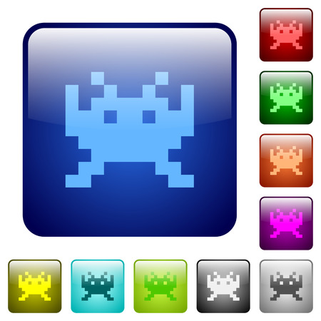Video game icons in rounded square in colored glossy button set Illustration