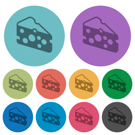 Slice of cheese darker flat icons on color round background Illustration