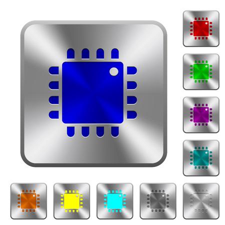 Processeur informatique gravé des icônes sur les boutons carrés en acier brillant arrondi Vecteurs