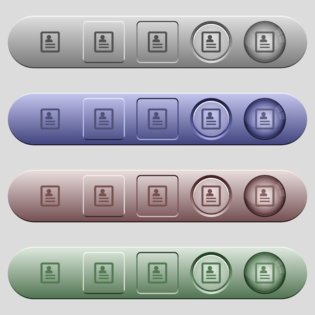 Contacts icons on rounded horizontal menu bars in different colors and button styles