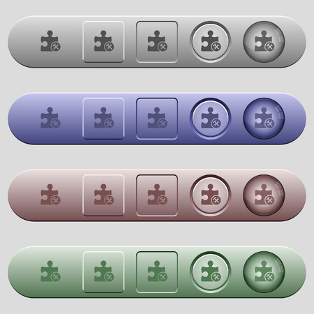 Plugin tools icons on rounded horizontal menu bars in different colors and button styles