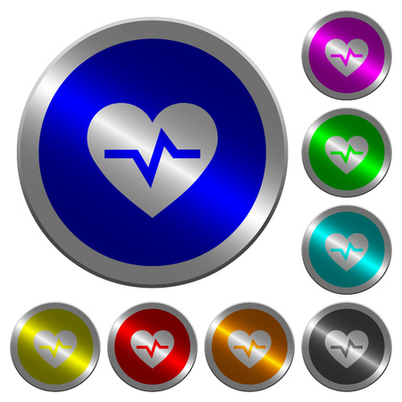 Heartbeat icons on round luminous coin-like color steel buttons