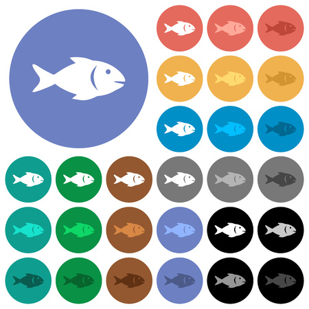 Fish multi colored flat icons on round backgrounds. Included white, light and dark icon variations for hover and active status effects, and bonus shades on black backgounds.