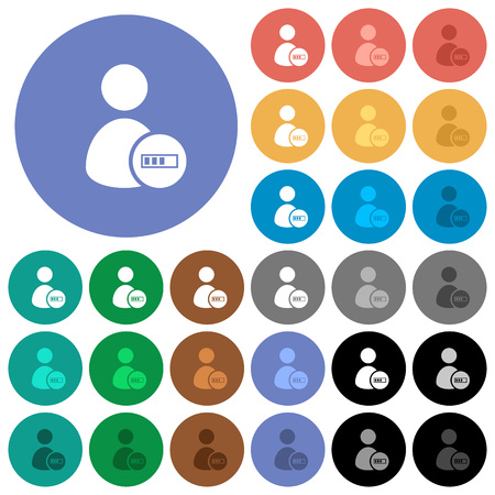 User account processing multi colored flat icons on round backgrounds. Included white, light and dark icon variations for hover and active status effects, and bonus shades on black backgounds.