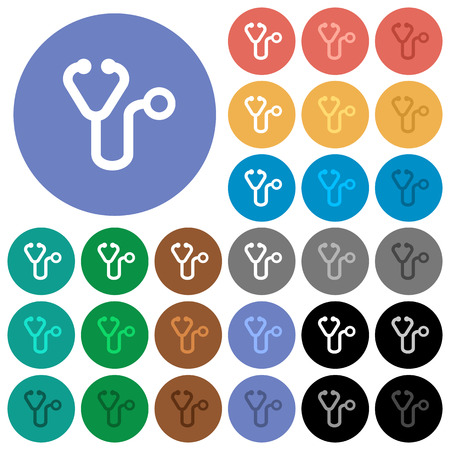 Stethoscope multi colored flat icons on round backgrounds. Included white, light and dark icon variations for hover and active status effects, and bonus shades on black backgounds.