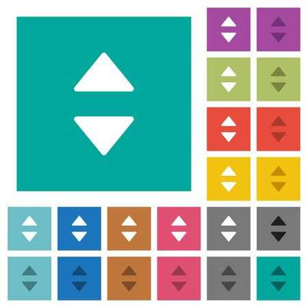 Vertical control arrows multi colored flat icons on plain square backgrounds. Included white and darker icon variations for hover or active effects.