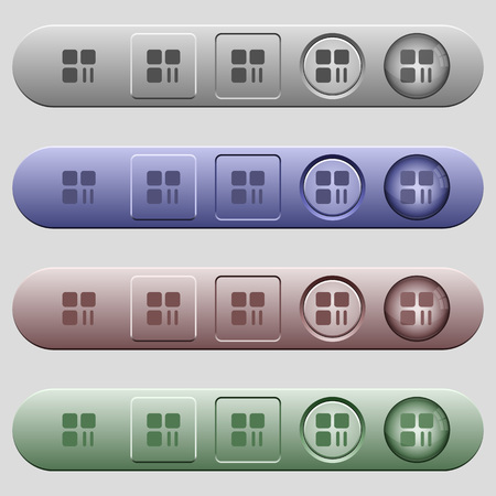 Component pause icons on rounded horizontal menu bars in different colors and button styles Illusztráció