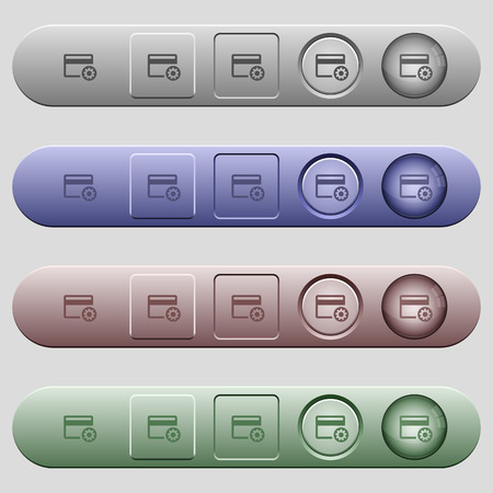 Credit card settings icons on rounded horizontal menu bars in different colors and button styles