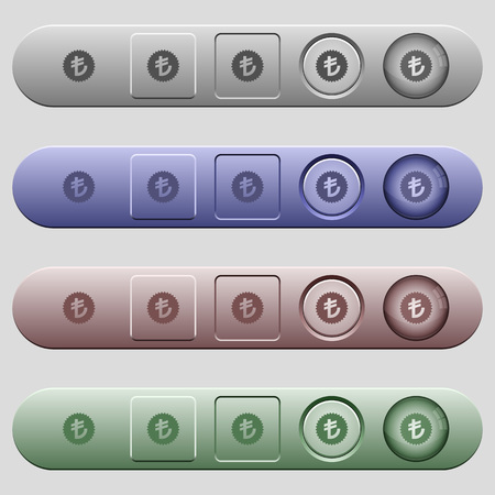 Turkish Lira sticker icons on rounded horizontal menu bars in different colors and button styles 向量圖像