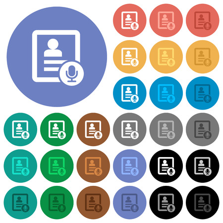 Contact voice calling multi colored flat icons on round backgrounds. Included white, light and dark icon variations for hover and active status effects, and bonus shades on black backgounds.