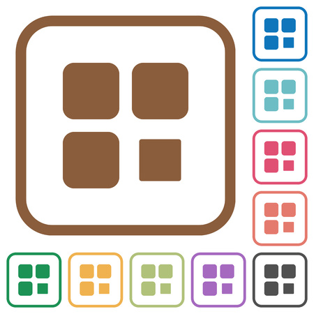 Component stop simple icons in color rounded square frames on white background