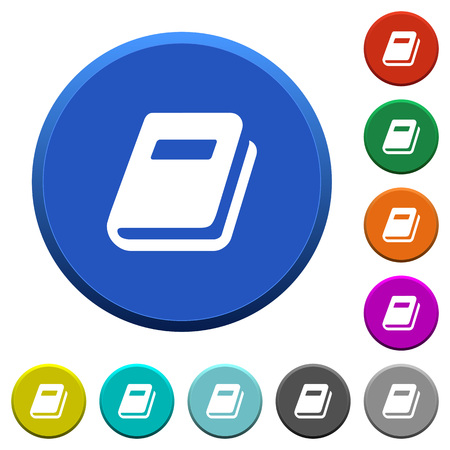 Personal diary round color beveled buttons with smooth surfaces and flat white icons