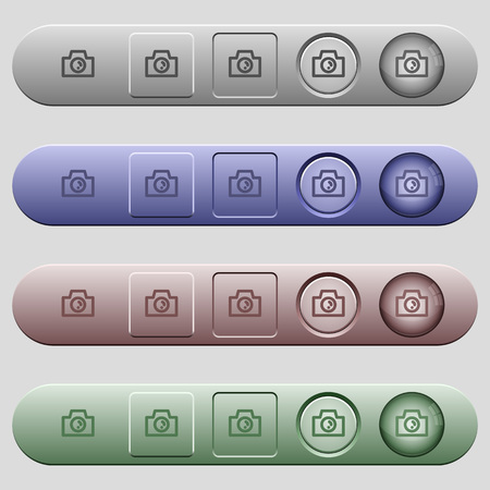 Camera icons on rounded horizontal menu bars in different colors and button styles