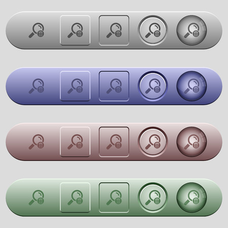 Delete search icons on rounded horizontal menu bars in different colors and button styles 向量圖像
