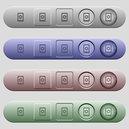 Mobile settings icons on rounded horizontal menu bars in different colors and button styles 向量圖像