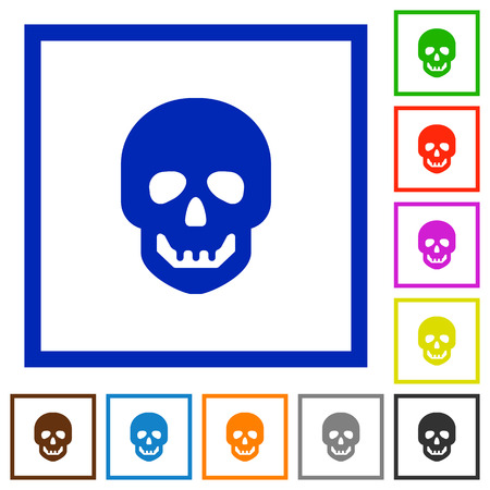 Human skull flat color icons in square frames on white background