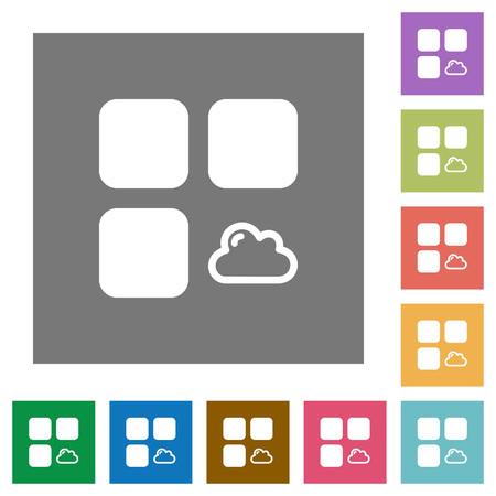 Cloud component flat icons on simple color square backgrounds Illusztráció
