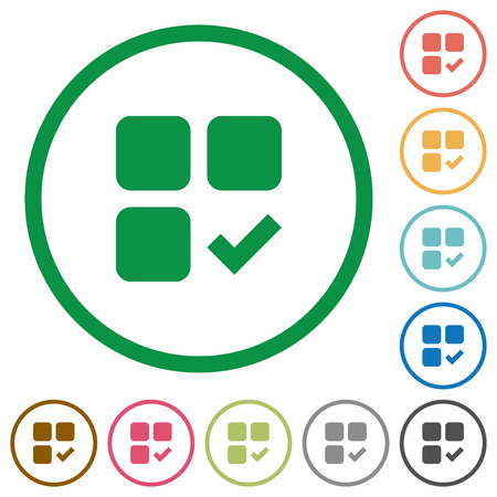 Component ok flat color icons in round outlines on white background
