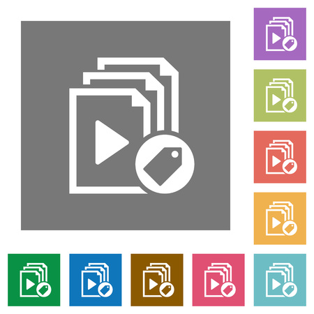 Tag playlist flat icons on simple color square backgrounds Vettoriali