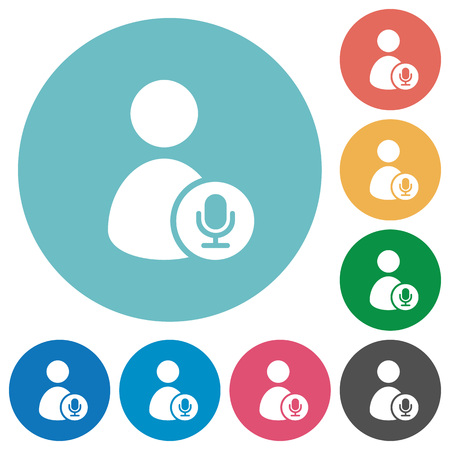 User broadcasting flat white icons on round color backgrounds