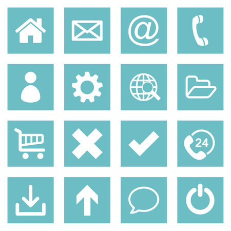 Set of 16 white flat basic web icon collection on glaucous colored rectangular backgrounds