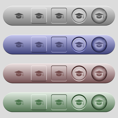 Graduation cap icons on rounded horizontal menu bars in different colors and button styles 向量圖像