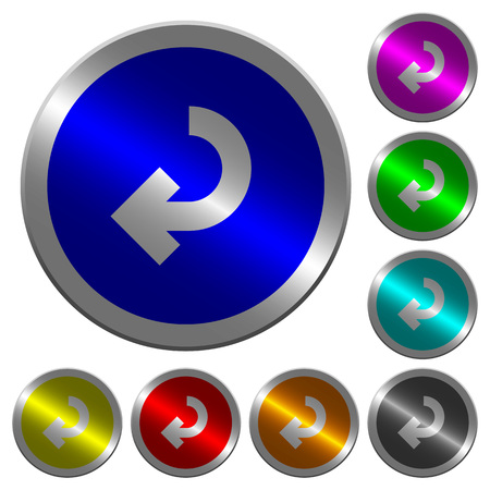 Return arrow icons on round luminous coin-like color steel buttons