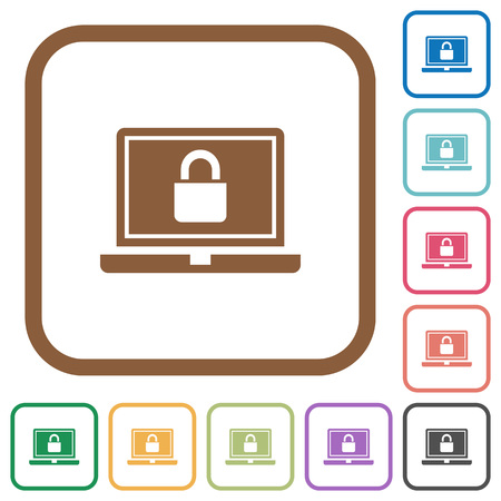 Locked laptop simple icons in color rounded square frames on white background Illustration