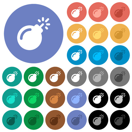 Bomb with sparkling fuse multi colored flat icons on round backgrounds. Included white, light and dark icon variations for hover and active status effects, and bonus shades on black backgounds.
