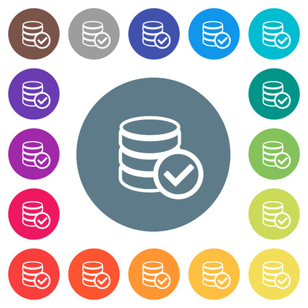 Database ok flat white icons on round color backgrounds. 17 background color variations are included.