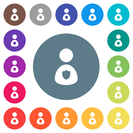 Security guard flat white icons on round color backgrounds. 17 background color variations are included.