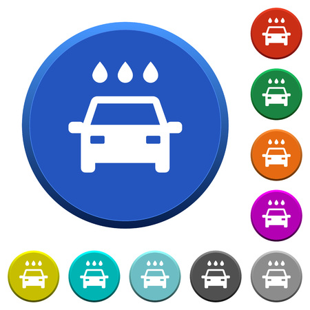 Car wash round color beveled buttons with smooth surfaces and flat white icons