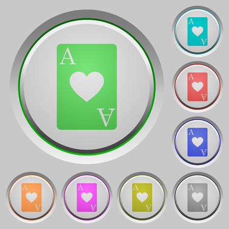 Ace of hearts card engraved icons on rounded square glossy steel buttons Foto de archivo - 95524111