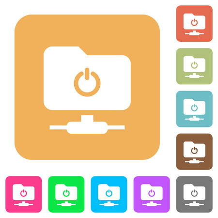 Logout from FTP flat icons on rounded square vivid color backgrounds. Illustration