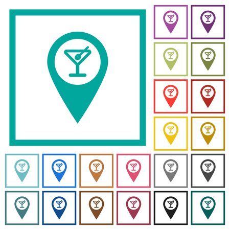 Cocktail bar GPS map location flat color icons with quadrant frames on white background. Stock Illustratie