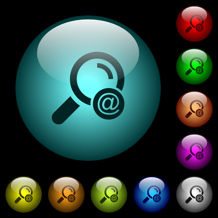 Search email address icons in color illuminated spherical glass buttons on black background. Can be used to black or dark templates.