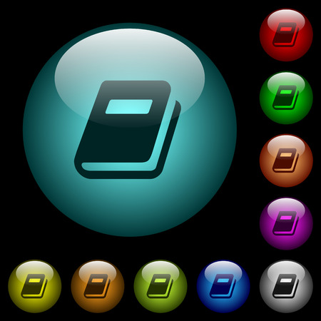 Personal diary icons in color illuminated spherical glass buttons on black background. Can be used to black or dark templates.