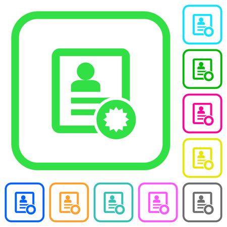 Certified contact vivid colored flat icons in curved borders on white background.