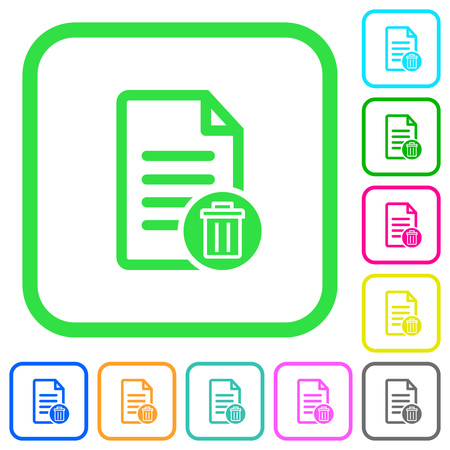 Delete document vivid colored flat icons in curved borders on white background.